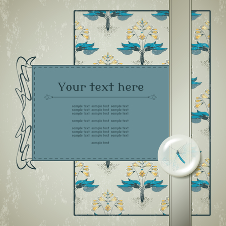 lacewing: Vector card. Floral hosta pattern on vintage plaster background. Decoration in the form of a lens with a lacewing inside. Place for your text. Illustration