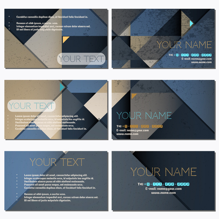 complied: Set of six horizontal business cards. Abstract polygonal vector background. Complied with the standard sizes.