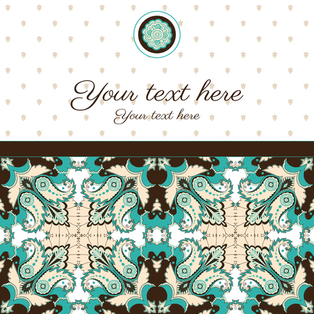 Vector card. Vintage oriental pattern. Place for your text. Perfect for invitations, announcement or greetings. Easy to change colors. Ilustração