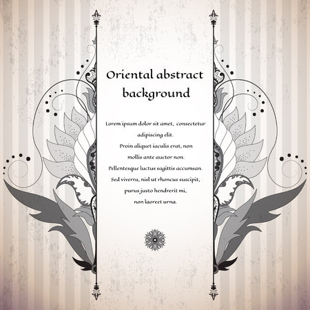 Vector card. Oriental floral pattern on vintage background. Made old surface. Place for your text. Perfect for greetings, invitations or announcements. Easy to change colors.