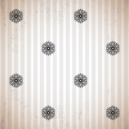 Seamless vector background. Vintage floral pattern and strips. Made old surface. Easy to change colors.