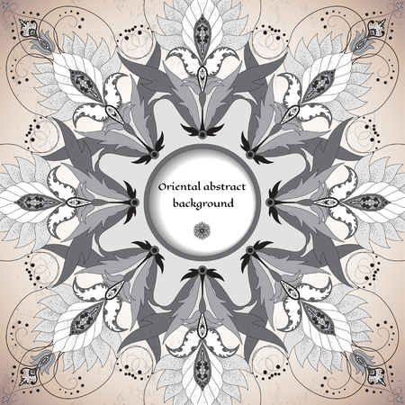 Vector round frame with oriental floral elements. Made old surface. Place for your text. Perfect for greetings, invitations or announcements. Easy to change colors.