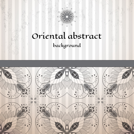 Vector card. Oriental floral border on vintage striped background. Made old surface. Place for your text. Perfect for greetings, invitations or announcements. Ilustração