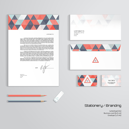 Vector corporate identity templates sky clouds sunshine and vector corporate identity templates multicolored geometric pattern and grid letterhead envelope business reheart Choice Image
