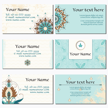 complied: Set of six horizontal business cards. Oriental floral pattern on vintage background. Shabby surface. Complied with the standard sizes