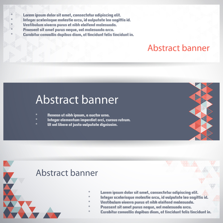 complied: Set of three horizontal banners. Multicolored triangles and grid. Complied with the standard sizes. Illustration