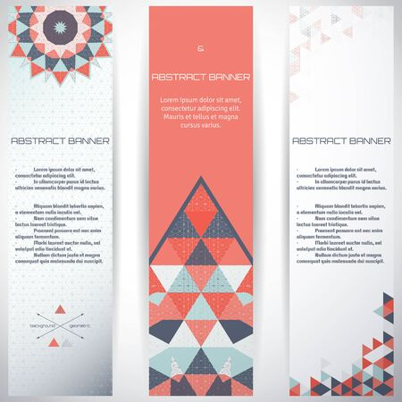 complied: Set of three vertical banners. Multicolored triangles and grid. Complied with the standard sizes.