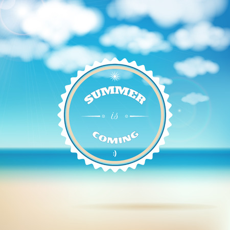 Vector Background. Sky, Clouds, Sunshine And Sandy Beach. Beautiful  Inscription   Summer
