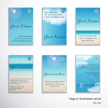 Set of six vertical business cards or tags. Sky, clouds, sunshine and sandy beach. Complied with the standard sizes. Stock Vector - 81632922