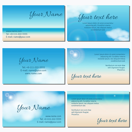 complied: Set of six horizontal business cards.  Sky, clouds, sunshine and sandy beach. Complied with the standard sizes.