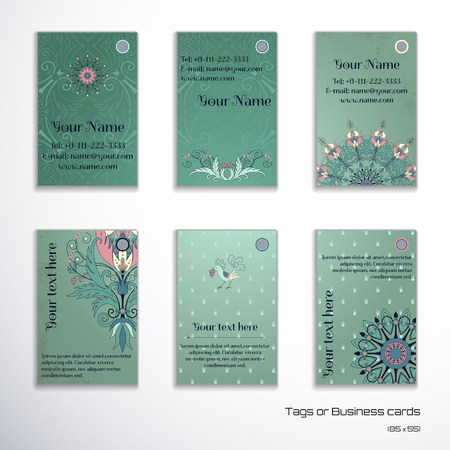 complied: Set of six vertical business cards. Floral pattern on vintage background. Fantasy flowers with leaves and berries. Decorative bird pecks berries. Complied with the standard sizes.