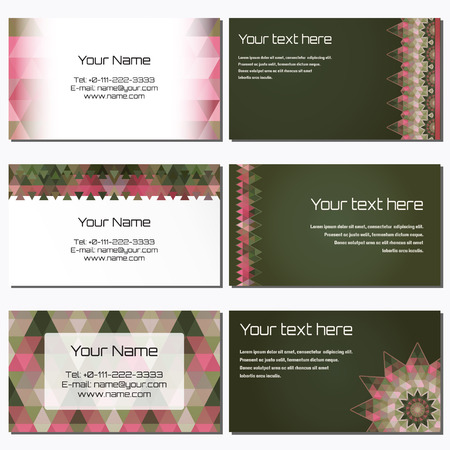 complied: Set of six horizontal business cards. Multicolored triangles. Complied with the standard sizes.