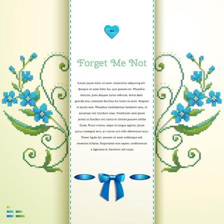 Schöne Blumenvektorkarte. Muster imitiert Stickerei Kreuzstich und Perlen. Vergissmeinnicht, Knopfherz, Schleife. Platz für Ihren Text. Perfekt für Grüße, Einladungen oder Ankündigungen Standard-Bild - 81812748