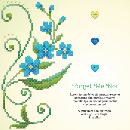 advertising material: Beautiful floral vector card.  Pattern imitates embroidery cross stitch and beads. Forget-me-not, button heart.  Place for your text. Perfect for greetings, invitations or announcements