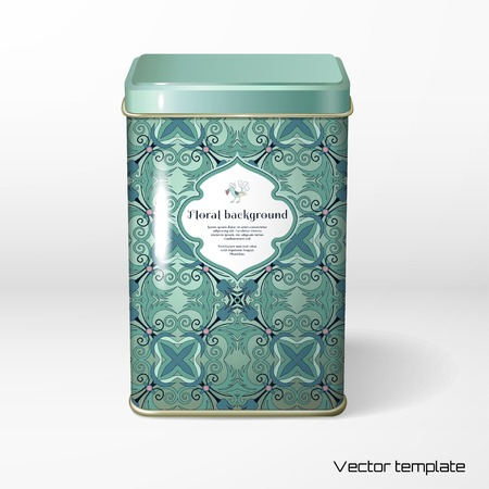 tare: Vector object. Square tin packaging. Tea, coffee, dry products. Floral pattern. Fantasy flowers with leaves. Decorative bird pecks berries. Figured frame for your text.