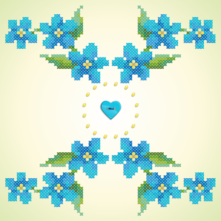 Element seamless vector pattern. Imitation of hand embroidery cross stitch. Forget-me-not, button heart and beads.