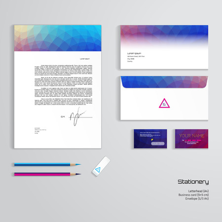Vector identity templates multicolored geometric pattern vector vector identity templates multicolored geometric pattern letterhead envelope business card pencils eraser easy editing of all parts and reheart Images