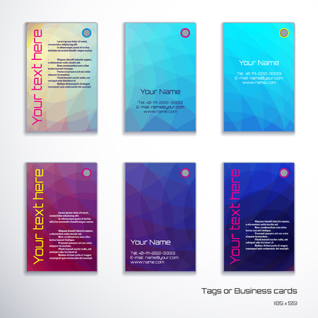 complied: Set of six vertical business cards. Abstract multicolored polygonal vector background. Complied with the standard sizes.
