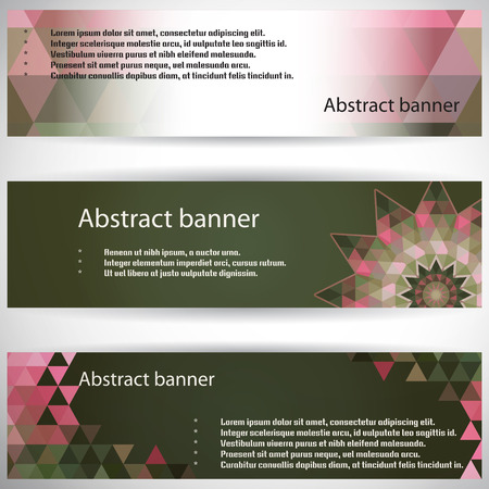 complied: Set of three horizontal banners. Multicolored triangles. Complied with the standard sizes.