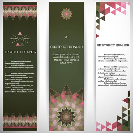 complied: Set of three vertical banners. Multicolored triangles. Complied with the standard sizes. Illustration