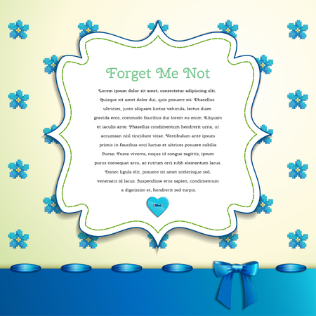 forget me not: Beautiful floral vector card.  Pattern imitates embroidery cross stitch. Forget-me-not, button heart,  ribbon bow.  Place for your text. Perfect for greetings, invitations or announcements