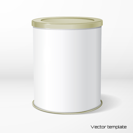 Vector object. White round tin packaging. Tea, coffee, dry products. Place your design. Realistic shadow.