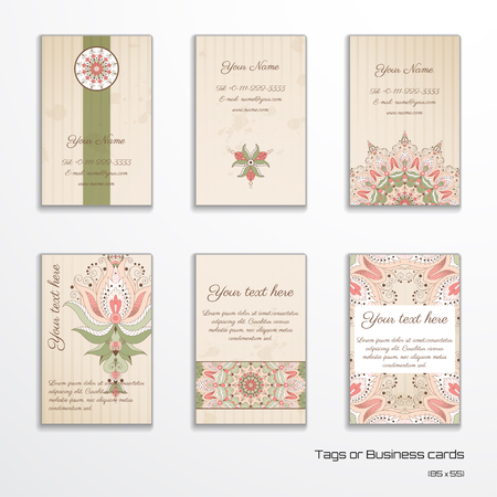 complied: Set of six vertical business cards or tags. Oriental floral pattern on vintage background. Complied with the standard sizes.