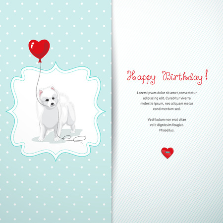 Vector card. White Spitz holds a balloon heart. Simple seamless background with polka dots. Beautiful hand-lettering - Happy birthday. Realistic shadow.
