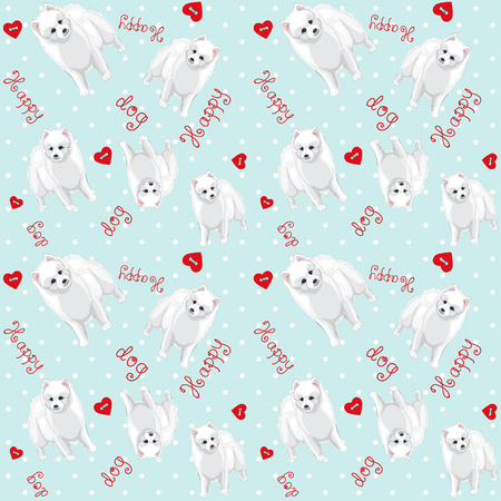 Vector seamless background.  White Spitz, heart buttons, polka dots and beautiful hand-lettering - Happy dog.
