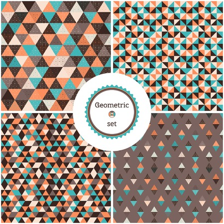 Set of four seamless geometric backgrounds. Multicolored triangles and grid. Frame for you text.
