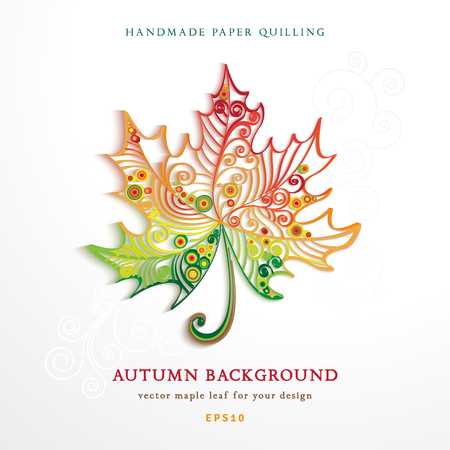 Vector autumn background. Maple leaf for your design. Imitation volume paper art. Handmade quilling.