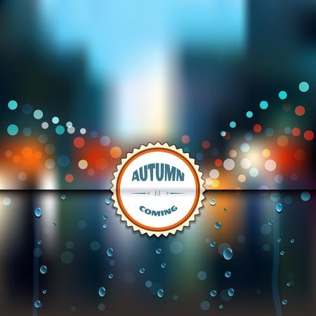 Rain, wet glass, street, a man with an umbrella. Illustration