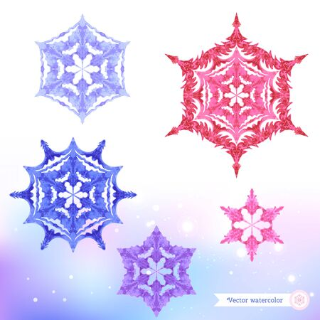 Watercolor snowflakes. Vector illustration. Hand-drawing.