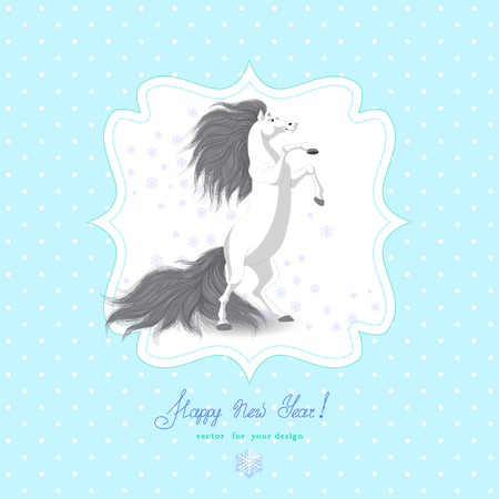 Vector card. White rearing horse and snowflakes. Figured frame, simple seamless background with polka dots.  Beautiful hand-lettering - Happy new year! Year of the Horse. Illustration