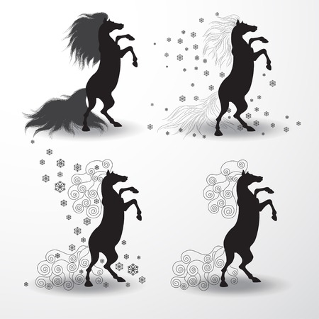 Vector Set of four silhouettes of rearing horses. Snowflakes and curls. Image can be used for New Years designs. Year of the Horse.