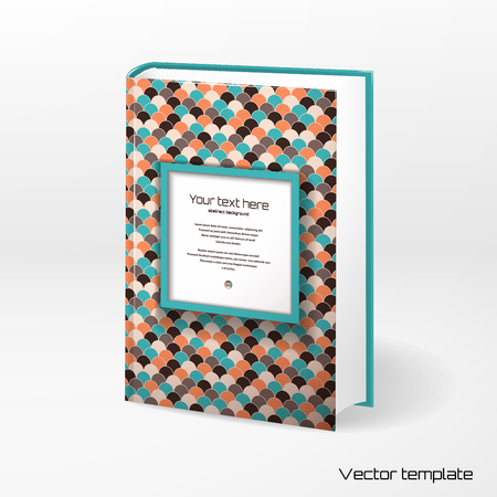 ベクトル テンプレート ブックカバー。抽象的なベクトルの正方形のフレーム。色とりどりの幾何学的な装飾。あなたのテキストのための場所。