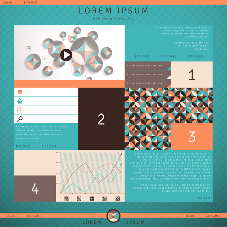 website header: Website vector template. Multicolored geometric ornament, elements of infographics and web design