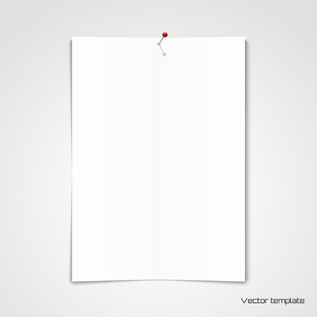 Vector template. White sheet of paper pinned to the wall. Illustration