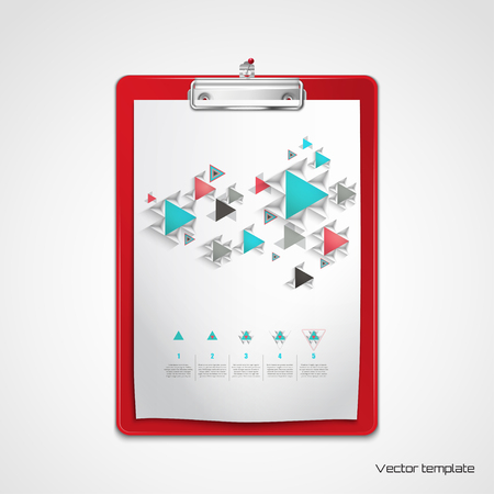 Vector  template. Red clipboard with sheet of paper pinned to the wall. Colored volumetric pattern of triangles. Elements of information graphics. Numbered lists and geometric markers. 向量圖像