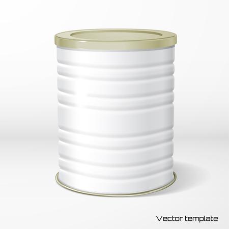 Vector objeto. Embalaje redondo de cartón corrugado blanco. Té, café, productos secos. Coloque su diseño. Sombra realista. Ilustración de vector