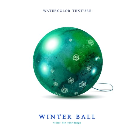 glass reflection: Vector Christmas ball. Drawing watercolor paints and snowflakes. Realistic shadows and reflections. Element for your design.