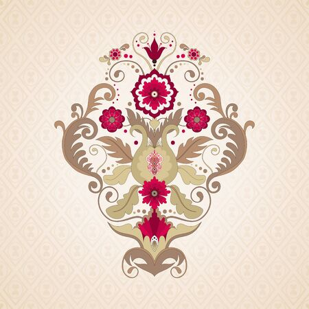 Vector background. Element beautiful floral pattern in vintage style. Seamless simple delicate ornament. Make your design.