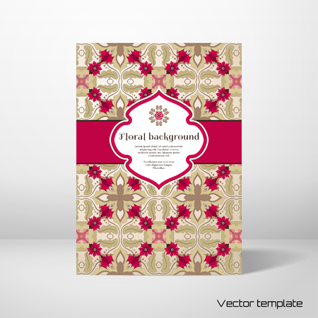 note booklet: Vector card template. Beautiful seamless floral pattern in vintage style. Figured frame for your text. Perfect for greetings, invitations or announcements. Realistic shadows