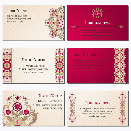 complied: Set of six horizontal business cards. Beautiful floral pattern in vintage style. Simple delicate ornament. Place for your text. Complied with the standard sizes. Illustration