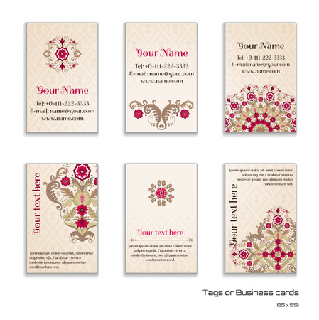 complied: Set of six vertical business cards. Beautiful floral pattern in vintage style. Simple delicate ornament. Place for your text. Complied with the standard sizes. Illustration