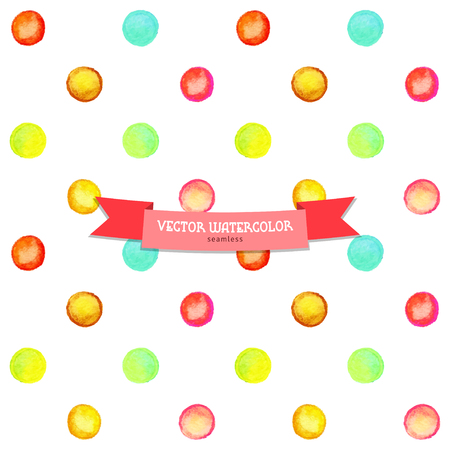 Seamless vector background. Watercolor multicolored circles. Hand drawing. Illustration