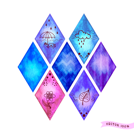 Set of nine vector rhombuses with different patterns and designs. Watercolor background. Hand drawing. Illustration
