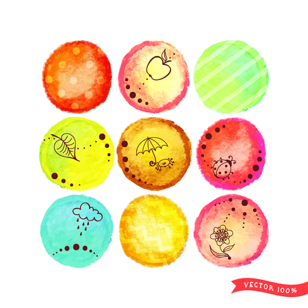 Set of nine vector circles with different patterns and designs. Watercolor background. Hand drawing. Ilustracja