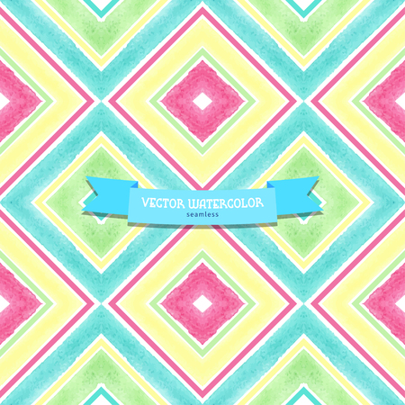 Vector seamless background. Pattern with watercolor squares. Hand drawing.