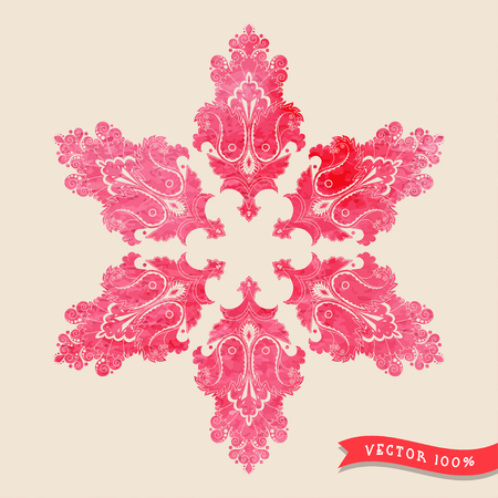 Vintage vector background.  Stencils in the form of round damask pattern on watercolors substrate.